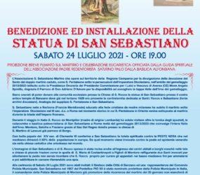 Benedizione e installazione della statua di San Sebastiano a Banzano